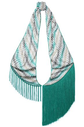 MISSONI Fringe-trimmed printed knitted scarf