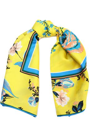 DIANE VON FURSTENBERG Floral-print silk-satin scarf