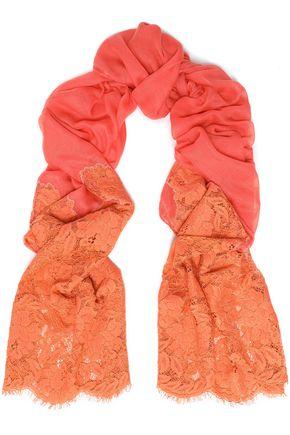 VALENTINO Lace-paneled silk scarf