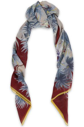 VALENTINO GARAVANI Printed silk and cotton-blend gauze scarf