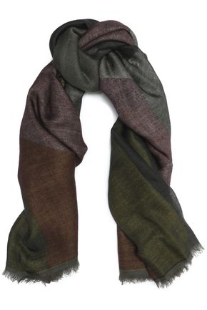 VALENTINO GARAVANI Fringe-trimmed cashmere and silk-blend scarf