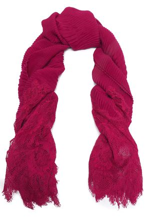 VALENTINO Lace-paneled cashmere scarf
