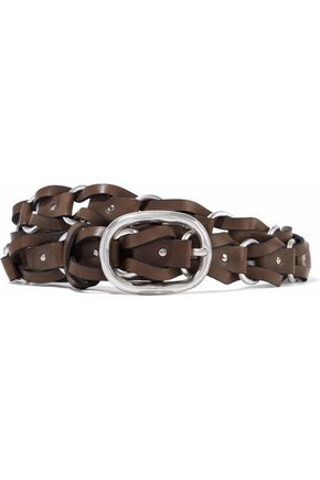 RAG & BONE Mason ring-embellished woven leather belt
