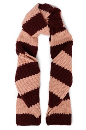 REDValentino Striped wool and cashmere-blend scarf