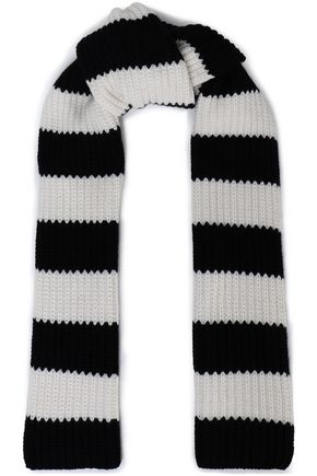 REDValentino Striped wool and cashmere-blend knit scarf