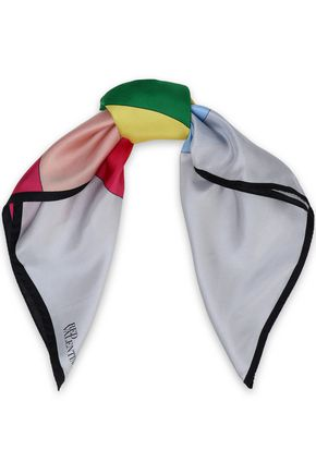 REDValentino Color-block silk-twill scarf