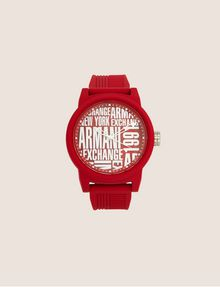 ARMANI EXCHANGE POP ART RED SILICONE STRAP WATCH Watch Man f