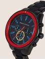 ARMANI EXCHANGE BLACK AND RED CHRONOGRAPH BRACELET WATCH Watch Man r