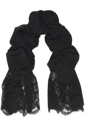 VALENTINO Lace and cashmere plissé scarf