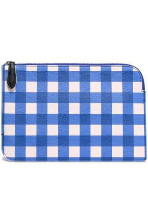 DIANE VON FURSTENBERG Gingham leather pouch