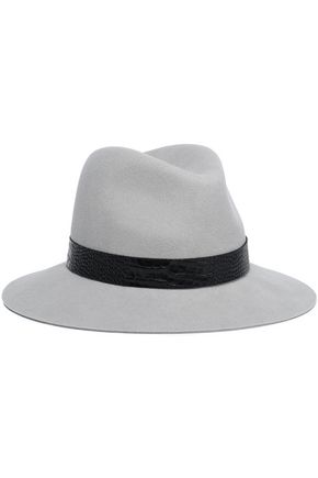 RAG & BONE Croc-effect leather-trimmed wool fedora