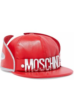 MOSCHINO Metallic-trimmed embellished leather cap