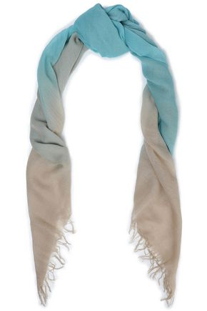 CHAN LUU Fringe-trimmed dégradé cashmere and silk-blend woven scarf