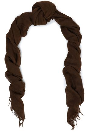 CHAN LUU Fringe-trimmed cashmere and silk-blend cashmere scarf