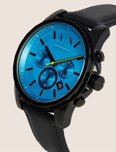 AQUA FACE CHRONO WATCH WITH LEATHER STRAP
