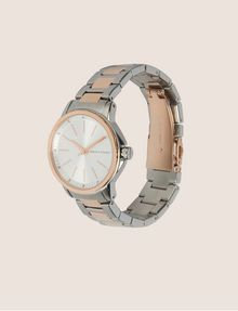 ARMANI EXCHANGE SILVER/ROSE GOLD-TONED BRACELET WATCH Fashion Watch Woman d