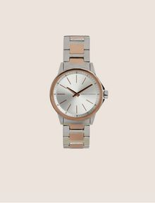 ARMANI EXCHANGE SILVER/ROSE GOLD-TONED BRACELET WATCH Fashion Watch Woman f