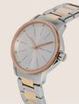ARMANI EXCHANGE SILVER/ROSE GOLD-TONED BRACELET WATCH Fashion Watch Woman r