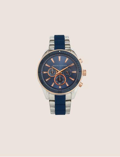 Cronografo in acciaio con dettagli gommato sul cinturino