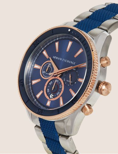 SILVER-TONED AND NAVY CHRONOGRAPH BRACELET WATCH