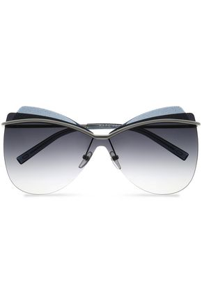 MARC JACOBS Oversized glittered gunmetal-tone sunglasses