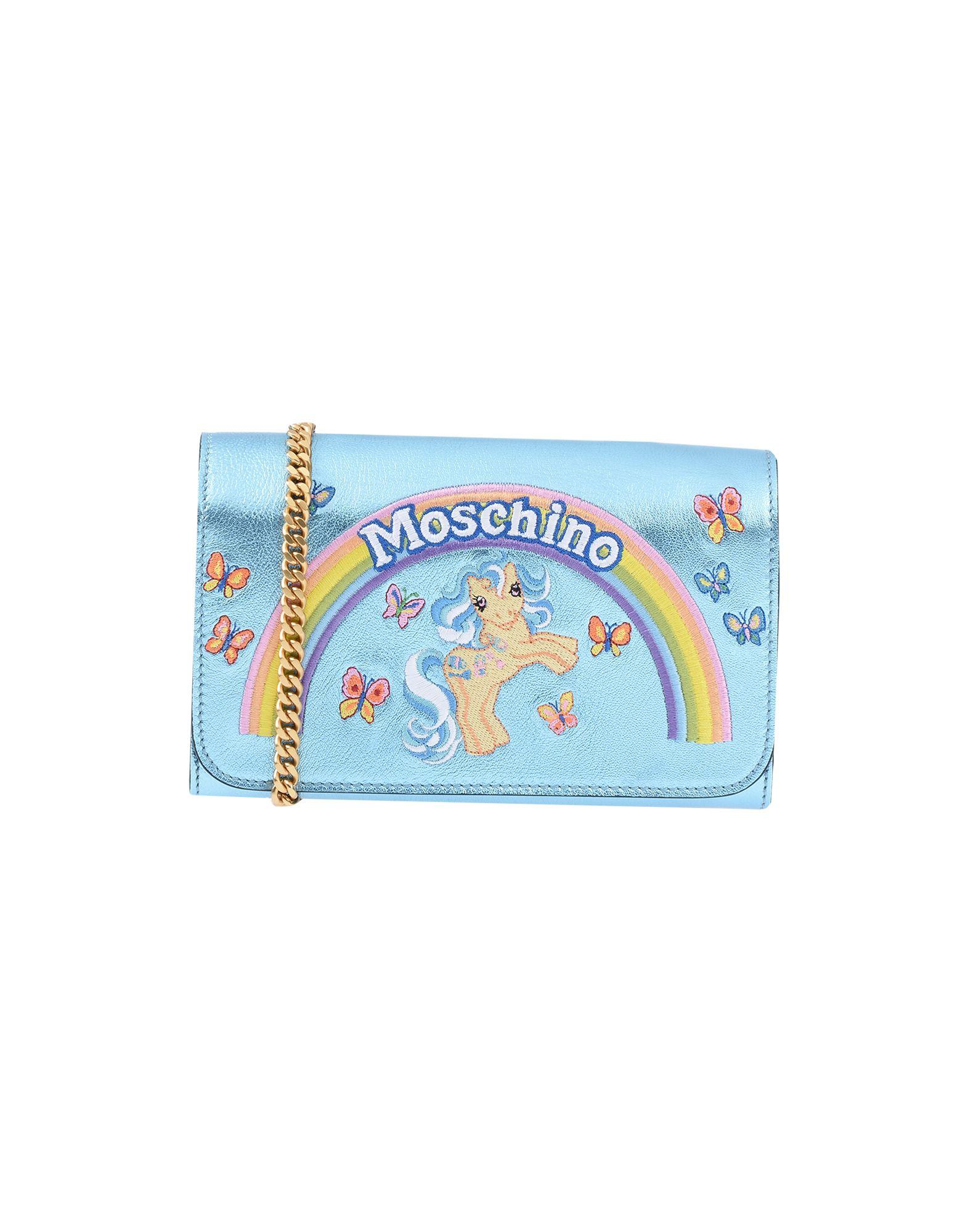 《セール開催中》MOSCHINO レディース 財布 スカイブルー 紡績繊維