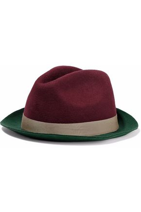 RED(V) Grosgrain-trimmed two-tone felt fedora