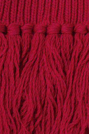 REDValentino Fringed ribbed wool scarf