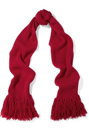REDValentino Fringed ribbed wool scarf