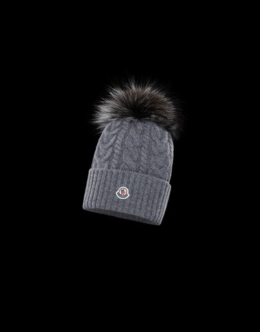 POMPOM BEANIE Grey Hats Woman