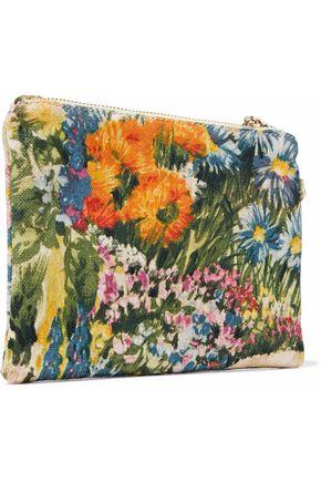 RED(V) Bow-embellished floral-print canvas clutch