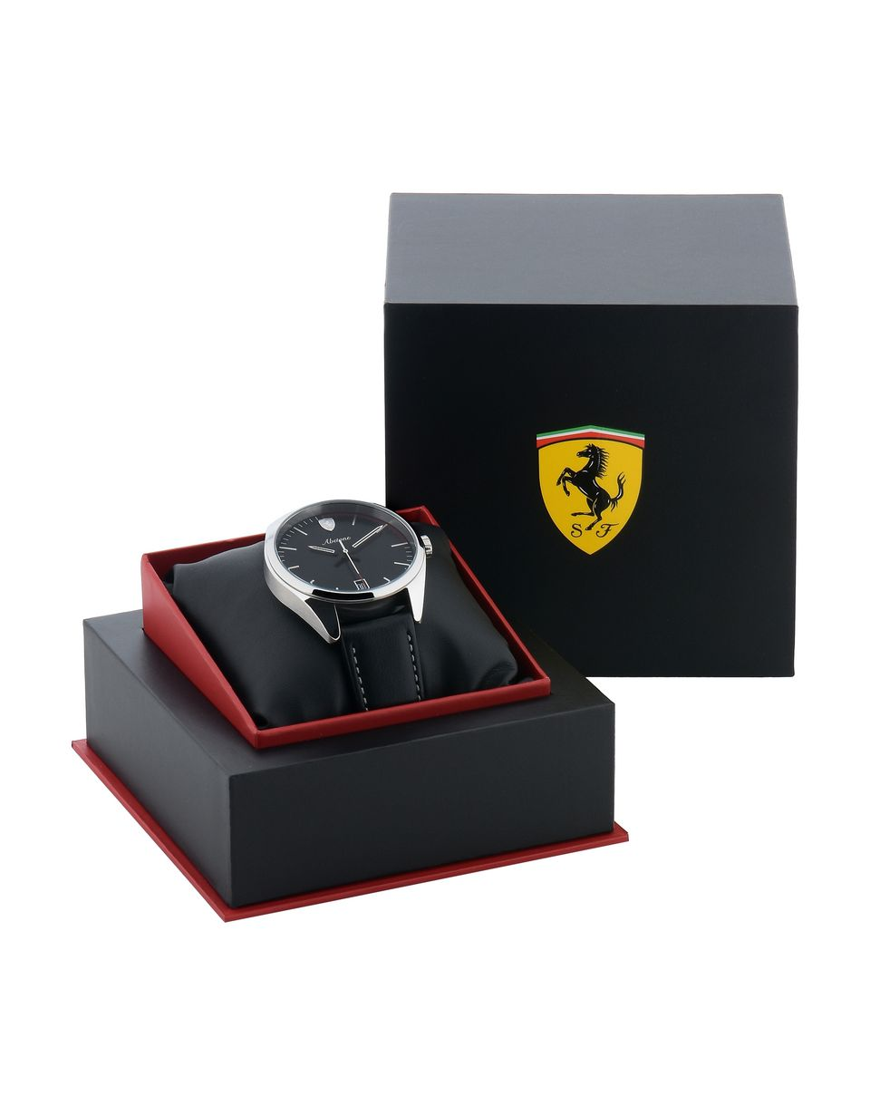 Scuderia Ferrari Online Store - Abetone watch with black dial and leather strap - Quartz Watches