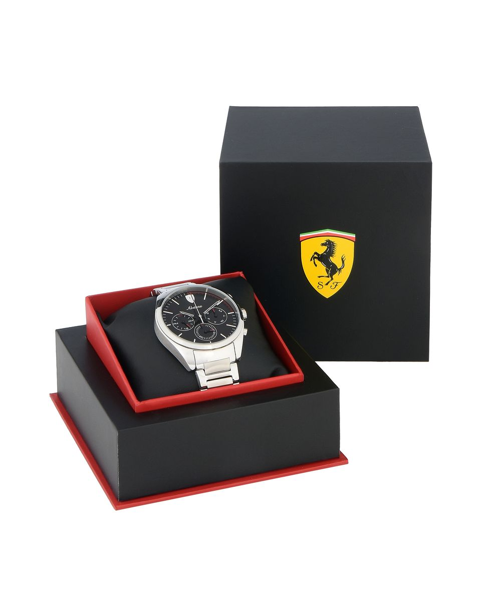 Scuderia Ferrari Online Store - Abetone multifunctional steel watch with black dial - Quartz Watches