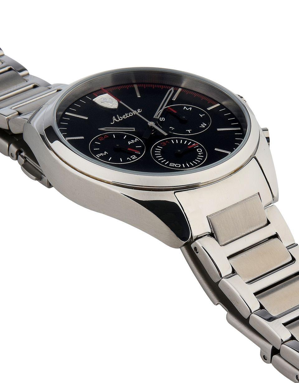 Scuderia Ferrari Online Store - Reloj multifunción Abetone de acero con esfera negra - Relojes de cuarzo