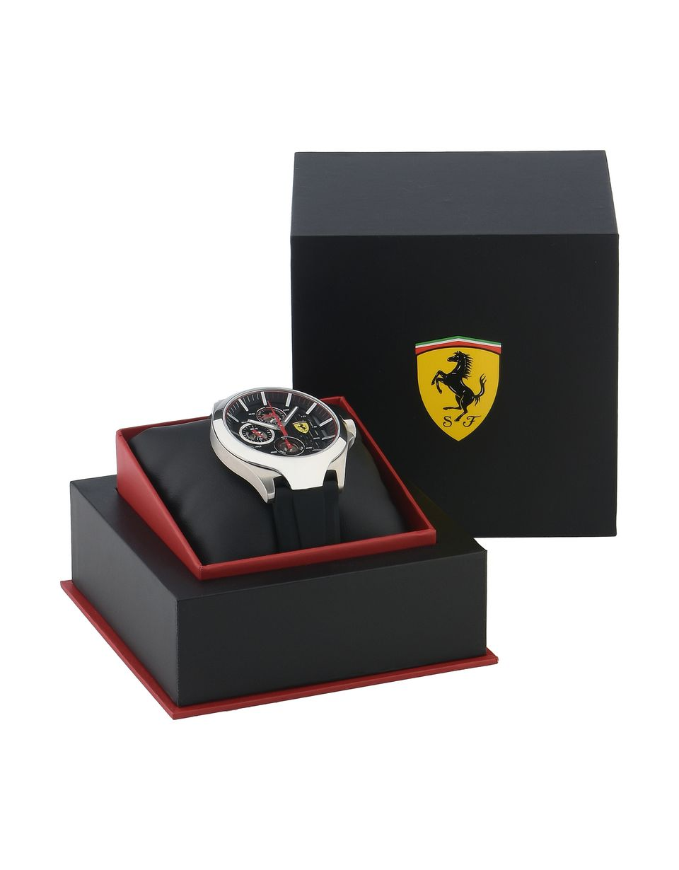 Scuderia Ferrari Online Store - Aero multifunctional watch with black dial and strap - Quartz Watches