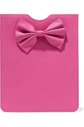 RED(V) Bow-embellished textured-leather tablet case