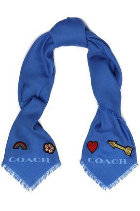COACH Appliquéd wool-twill scarf