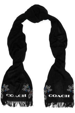 COACH Embellished wool scarf