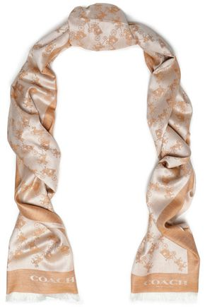 COACH Silk and wool-blend jacquard scarf