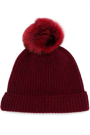 KARL DONOGHUE Shearling-trimmed ribbed cashmere beanie