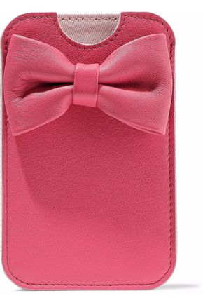 RED(V) Bow-embellished textured-leather phone case