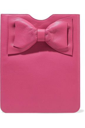 RED(V) Bow-embellished textured-leather tablet case