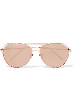 WOMAN AVIATOR-STYLE ROSE GOLD-TONE SUNGLASSES ROSE GOLD