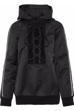 NO KA 'OI Nele lace-up striped shell hooded jacket