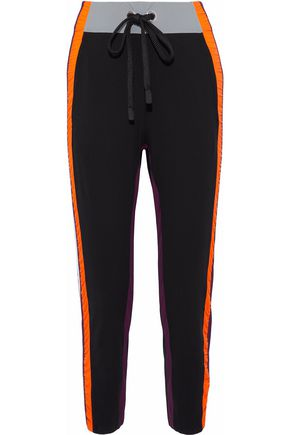 NO KA 'OI Ruched shell-trimmed stretch-knit track pants