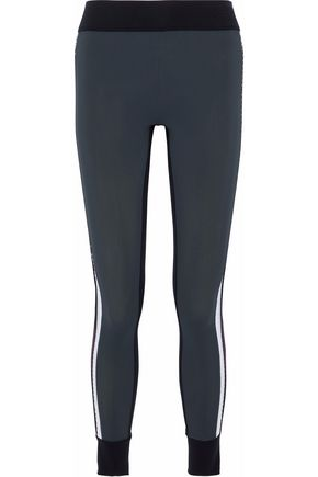NO KA 'OI Kuna pleated velvet-trimmed tech-jersey leggings