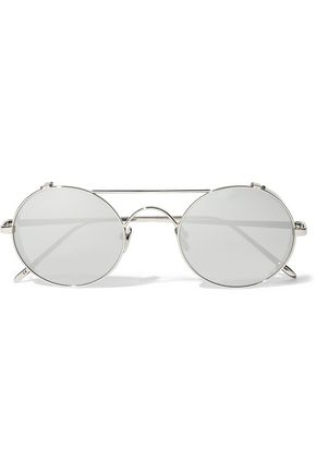 LINDA FARROW Round-frame white gold-plated mirrored sunglasses