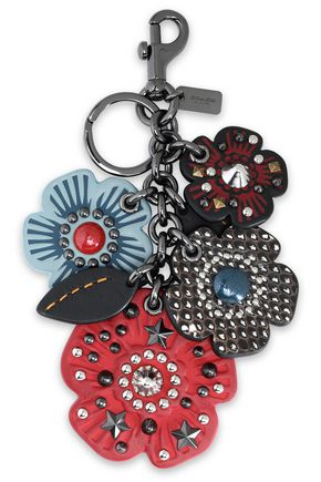 COACH Gunmetal-tone and studded leather keychain