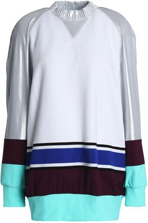 NO KA 'OI Lamé and stretch-paneled terry sweatshirt
