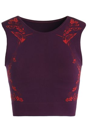LUCAS HUGH Cropped printed stretch top